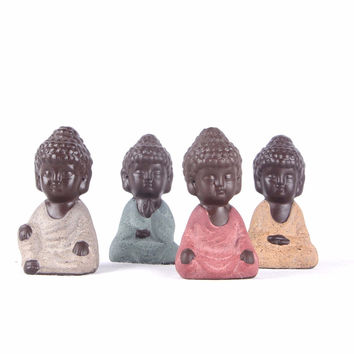 2016 Ceramic mini Buddha statue Monk Figurine Home decor Family garden flowerpot home decoration Small ornaments