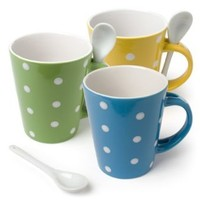 "Set of 3 Pieces 5"" Ceramic Cups Polka Dot Coffee Mug With Spoon Assorted Colors"