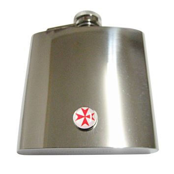 Red Maltese Cross 6 Oz. Stainless Steel Flask