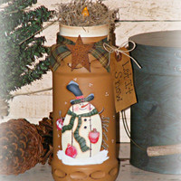 Primitive Handpainted Snowman Jar with Battery Operated Candle