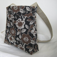 Tote/Purse in Brown Floral Japanese Canvas by moxiebscloset