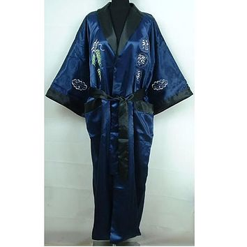 Reversible Navy Blue Black Men's Satin Kimono Gown Chinese Traditional Embroidery Sleepwear Bandage Robe One Size