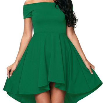 Casual High-Low Off Shoulder Solid Skater Dress