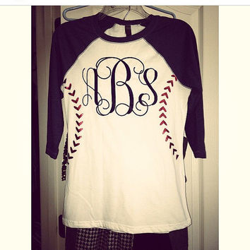 Baseball monogram tee design