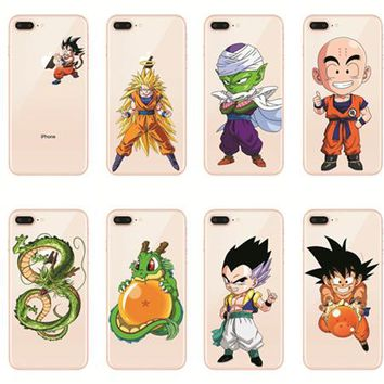 Kulia  Hot sale Dragon Ball Z Goku silicon TPU Transparent Phone Case Cover Coque For iPhone 8  5s SE 5C 6 6s 7 7Plus X