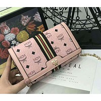 MCM 2018 new trend fashion classic printing logo pattern hipster chain bag F-AGG-CZDL Pink