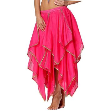 Women's Indian Chic Hot Pink Sequin Chiffon Salsa Maxi Party Skirt