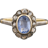 Antique Victorian Natural 1ct Sapphire & Diamond Halo Ring, 14k Gold, Engagement Ring
