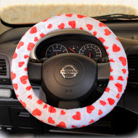 by (CoverWheel) Steering wheel cover cheetah wheel car accessories hearts fur hearts Red hearts on White base