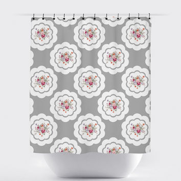 Gray Shabby Chic Floral Shower Curtain