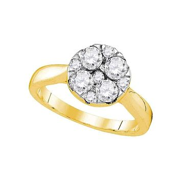 14kt Yellow Gold Women's Round Diamond Cluster Bridal Wedding Engagement Ring 1.00 Cttw - FREE Shipping (US/CAN)