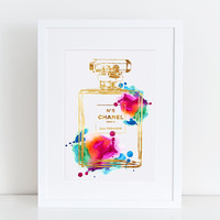 8x10 in Chanel art print Rainbow water color with gold effect digital download Coco Chanel no5 perfume print, fashion print, chanel poster