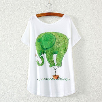 New Fashion Women Batwing Short Sleeve Leafy Elephant Printed Loose White T-Shirt Tops Blouse # MUSU Inc # = 1945928708