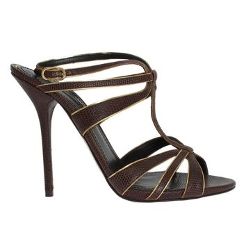 Dolce & Gabbana Brown Leather Ankle Strap Sandals