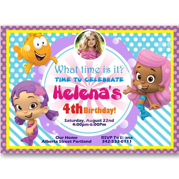 Bubble Guppies Polka Dot Pink Girl Kids Birthday Invitation Party Design