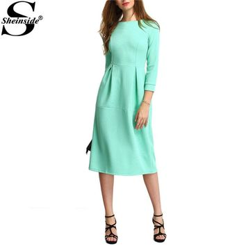 Sheinside 2016 Falle Green Three Quarter Length Sleeve A Line Midi Round Neck A Line Dress Women Elegant Dress