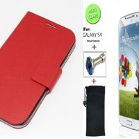 """Red"" Faux Leather Skin Bracket Flip Case Cover Wallet With Magnetic Closure & KickStand For Samsung Galaxy S4 (INCLUDED: MATTE, ANTI-GLARE FRONT SCREEN PROTECTOR + DIAMOND EARPHONE DUST PLUG + PHONE DUST BAG POUCH)"
