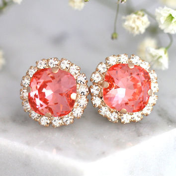 Peach Earrings, Bridal Peach Coral Swarovski Earrings, Coral Crystal Earrings, Bridal Peach Earrings, Bridesmaids Coral Peach Earrings
