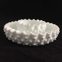 Hobnail Milk Glass Ashtray Set, Pair of 2 Round Milk Glass Ashtrays