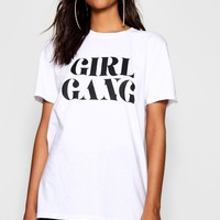 Tall Millie Girl Gang Slogan T-Shirt | Boohoo
