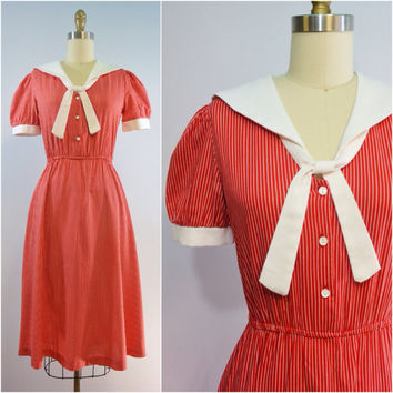 Vintage Red Striped Sailor Dress Size XS Small