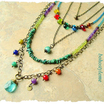 Bohemian Jewelry, Colorful Gemstone Necklace, Handmade Layered Necklace, Beaded Necklace, bohostyleme, Kaye Kraus