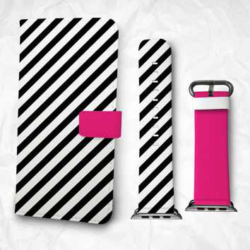 Gift Set iPhone case Apple Watch Band 38mm 48mm Zebra pattern iPhone 6S case iPhone 6S Plus iPhone 5S case iPhone 4S case
