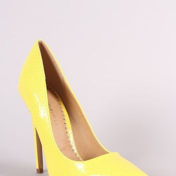 Shoe Republic LA Snake Embossed Pointy Toe Stiletto Pump