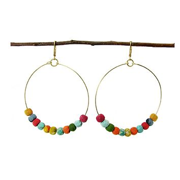 Kantha Fabric Hoop Earrings