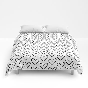 Hollow Hearts Black+White Comforters by Inspire Your Art