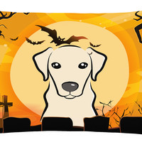 Halloween Yellow Labrador Fabric Decorative Pillow BB1780PW1216
