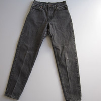 Vtg 90s Levi's 550 High Waisted Tapered Mom Jeans Black 5 Denim Boyfriend 25""