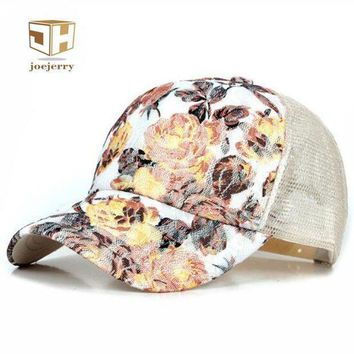 Joejerry New Girls Lace Baseball Cap Floral Summer Caps Polyester Mesh Sun Hats For Women Fitted