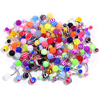 UV Acrylic Ball Steel Barbell Belly Button Ring Set of 100 | Body Candy Body Jewelry