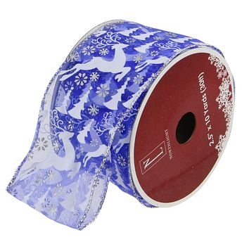 "Pack of 12 White and Red Snowflakes Burlap Wired Christmas Craft Ribbon Spools 2.5"" x 120 Yards Total"