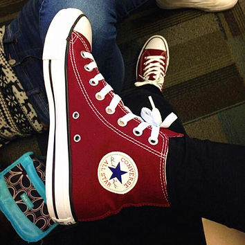 """""""Converse"""" Fashion High tops Wine red Canvas Flats Sneakers Sport Shoes"""