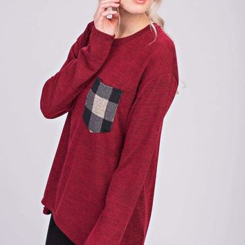 Women's Tunic Sweater with Contrast Plaid Front Pocket