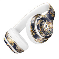 Gold and Navy Blue Floral Design Skin for the Beats By Dre Headphones