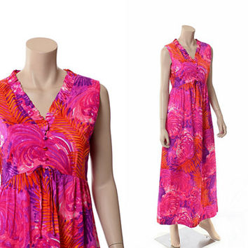 Vintage 60s Psychedelic Hawaiian Dress 1960s Lilia Honolulu Groovy Floral Mod Neon Luau Wedding Boho Hippie Maxi Dress / Small / Medium