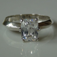 Sterling Silver 925 Cubic Zirconia Square Diamond Cut Ring
