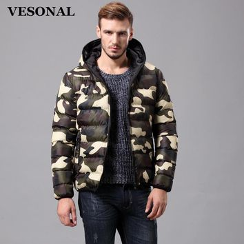 VESONAL Spring Autumn Winter Camouflage Hood Padded Quilted Men Jacket Coat Warm Male Jackets Parka Hooded Casual Wadded LY805