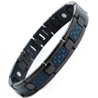 Willis Judd Men's Titanium Magnetic Black Bracelet Blue Carbon Fiber Adjustable