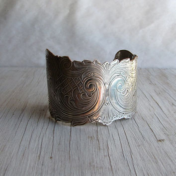 Engraved Silver Cuff Bracelet Altered repurposed antique jewelry