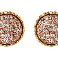 Rose Gold  Drusy Crown Studs, Drops Earrings