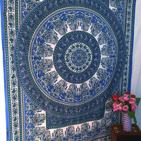 Small Blue Indian Hippie Bedspread Printed Cotton Tapestry Wall Hanging Throw Home Decor