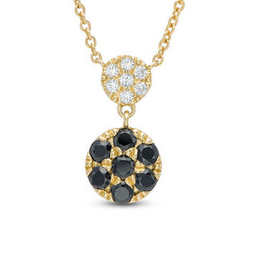 "1/4 CT. T.W. Enhanced Black and White Diamond Double Cluster Necklace in 14K Gold - 16"" - Save on Select Styles - Zales"