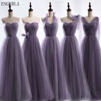 ENGERLA Long Tulle Bridesmaid Convertible Dresses Floor Length Wedding Bridesmaid Dress Lace Up Back Custom Made