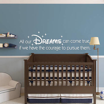 Sweet Dreams Nursery Wall Decal, Dreams Come True Kid Bedroom Sticker, Sweet Dream Nursery Room Wall Decor Art, Dreams Come True Quote se147