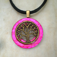 Tree of Life Necklace: Hot Pink - Tree Jewelry - Wiccan Jewelry - Celtic Jewelry - Upcycled Jewelry - Washer Jewelry
