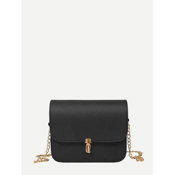 Black Flap Shoulder Chain Pu Crossbody Bag